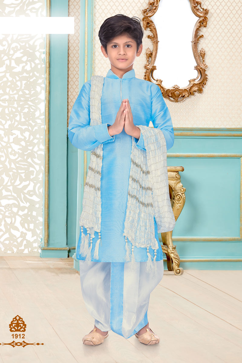 Occasion Wear Silk Fabric Sky Blue Color Trendy Dhoti Kurta For Boys