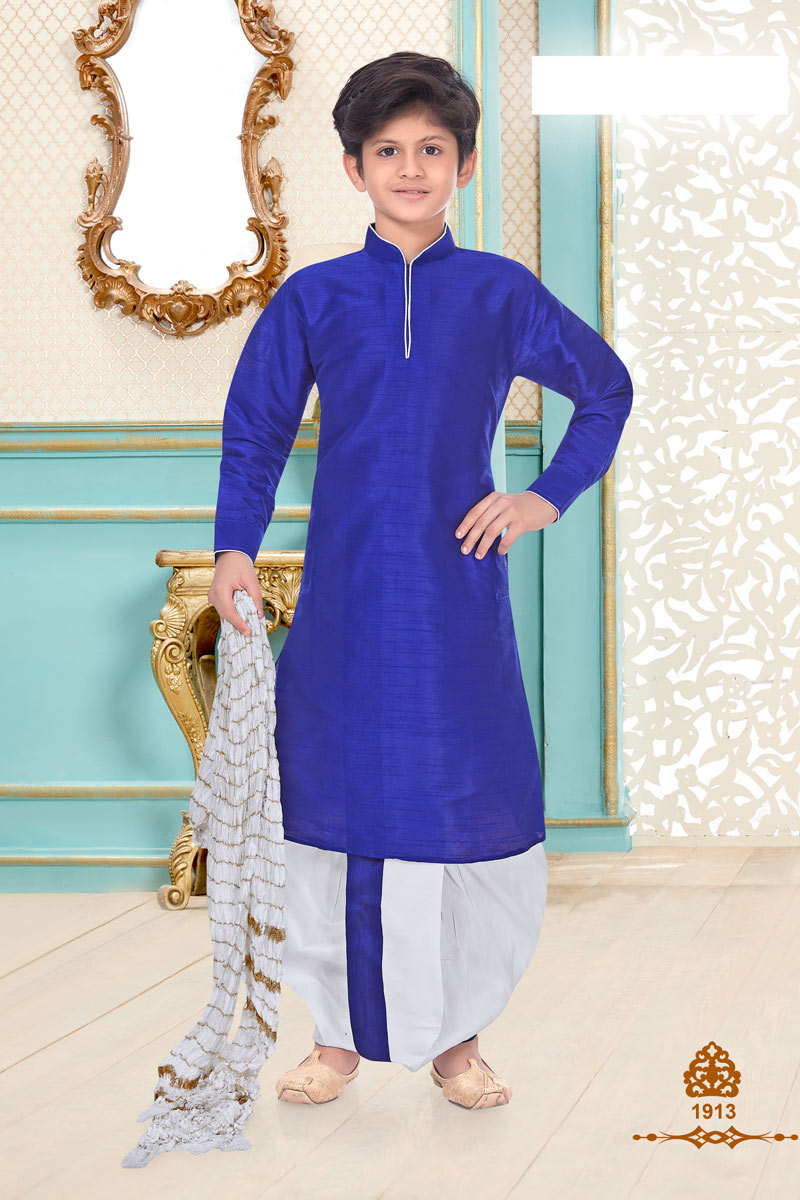 Blue Color Occasion Wear Silk Fabric Designer Dhoti Kurta For Boys