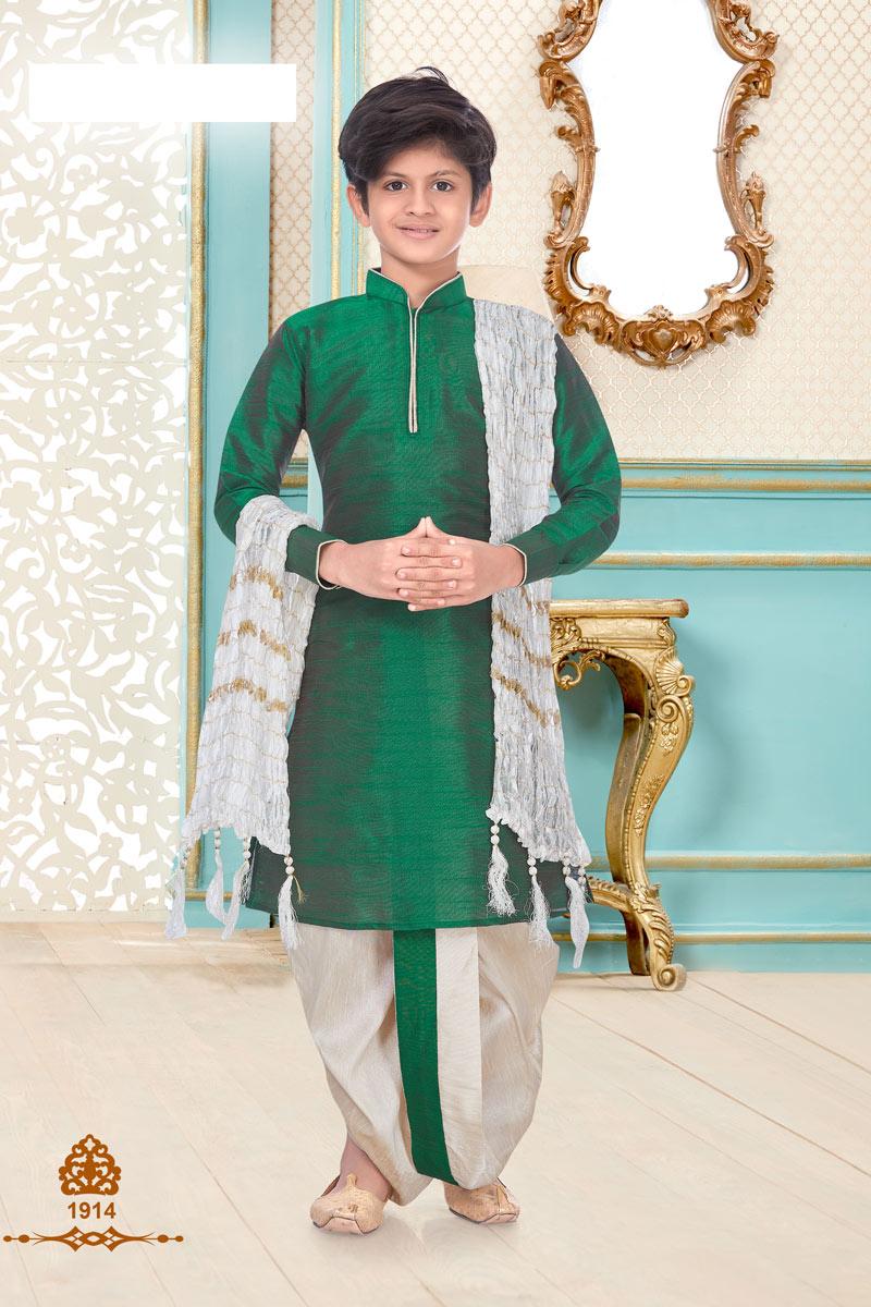 Occasion Wear Silk Fabric Designer Dhoti Kurta For Boys In Dark Green Color