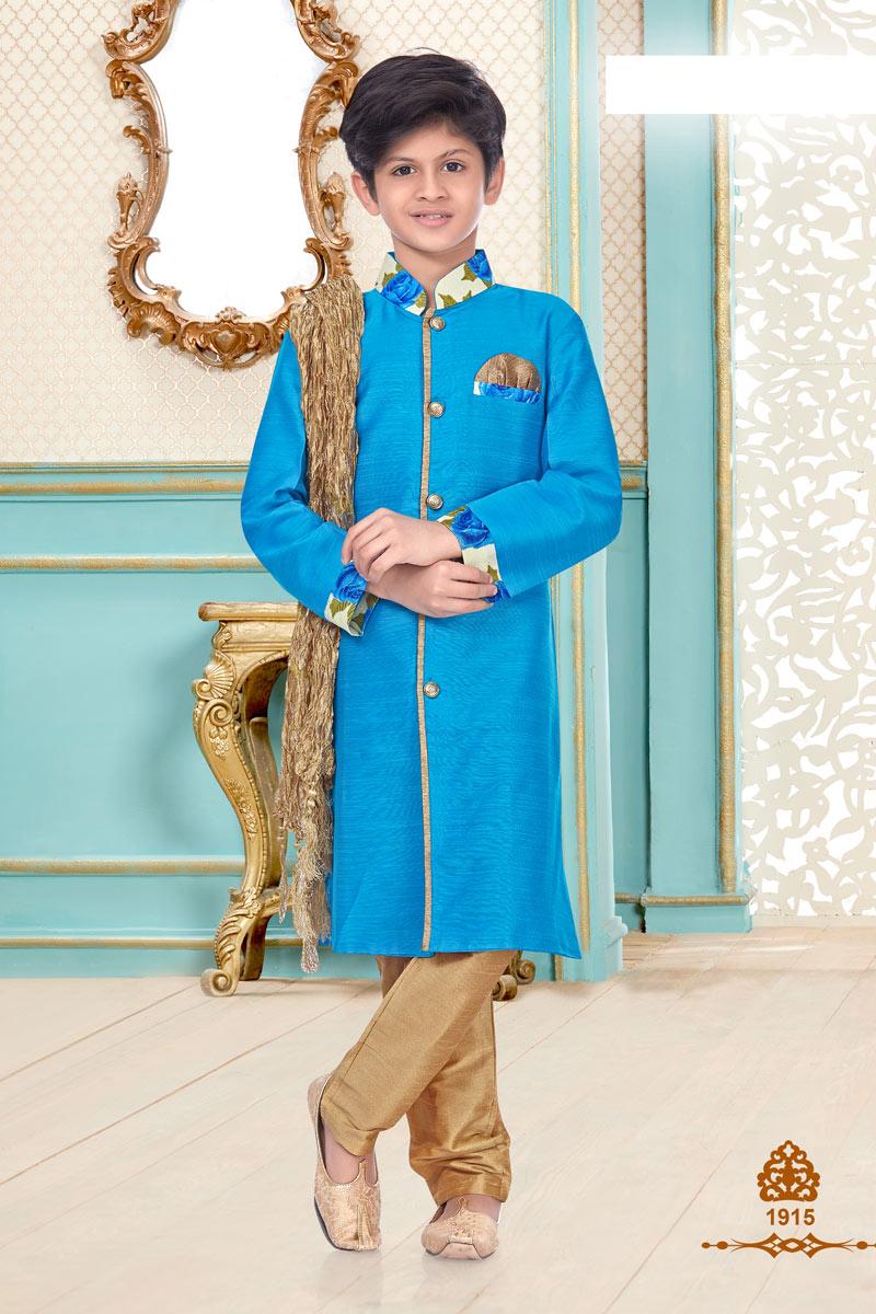 Sangeet Function Wear Designer Kurta Pyjama For Boys In Linen Cotton Fabric Sky Blue Color