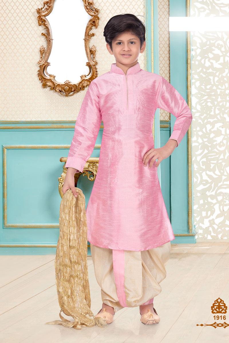 Pink Color Silk Fabric Sangeet Function Wear Boys Designer Dhoti Kurta