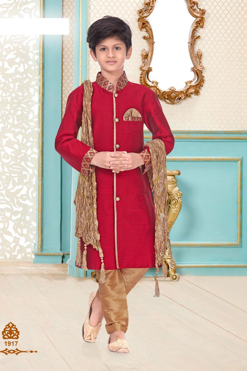 Sangeet Function Wear Red Color Linen Cotton Fabric Stylish Kurta Pyjama For Boys