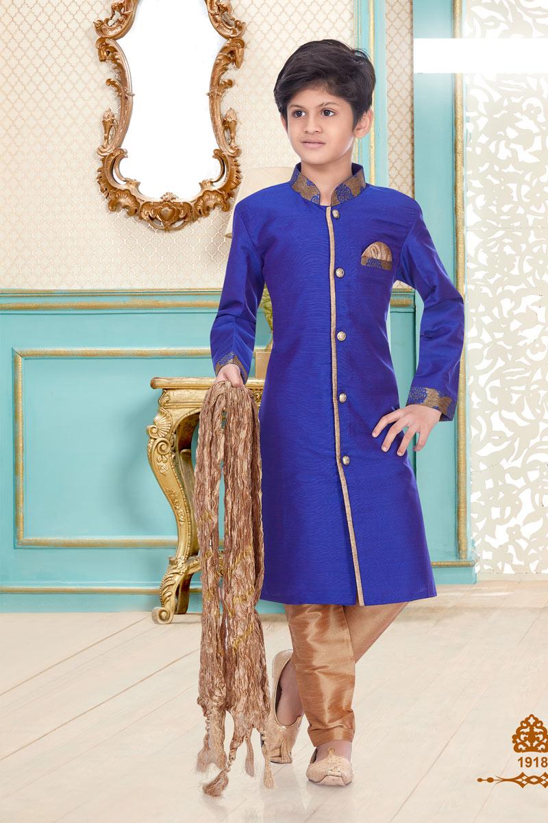 Function Wear Linen Cotton Fabric Stylish Kurta Pyjama For Boys In Blue Color