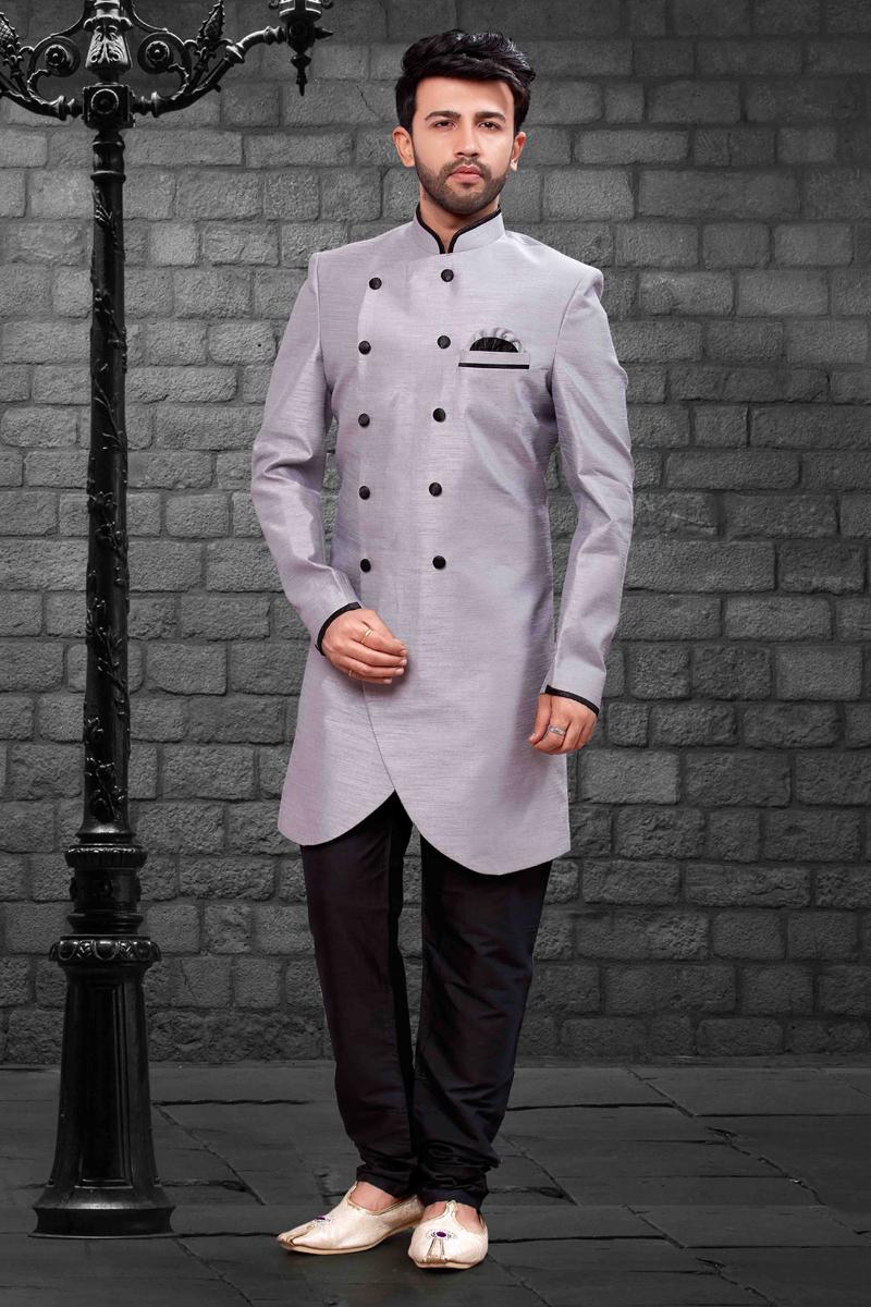 Function Wear Grey Indo Western In Art Silk Fabric For Men