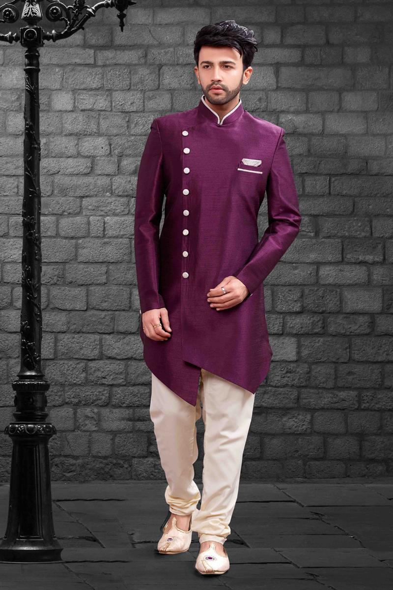 Purple Art Silk Fabric Festive Wear Indo Western For Men