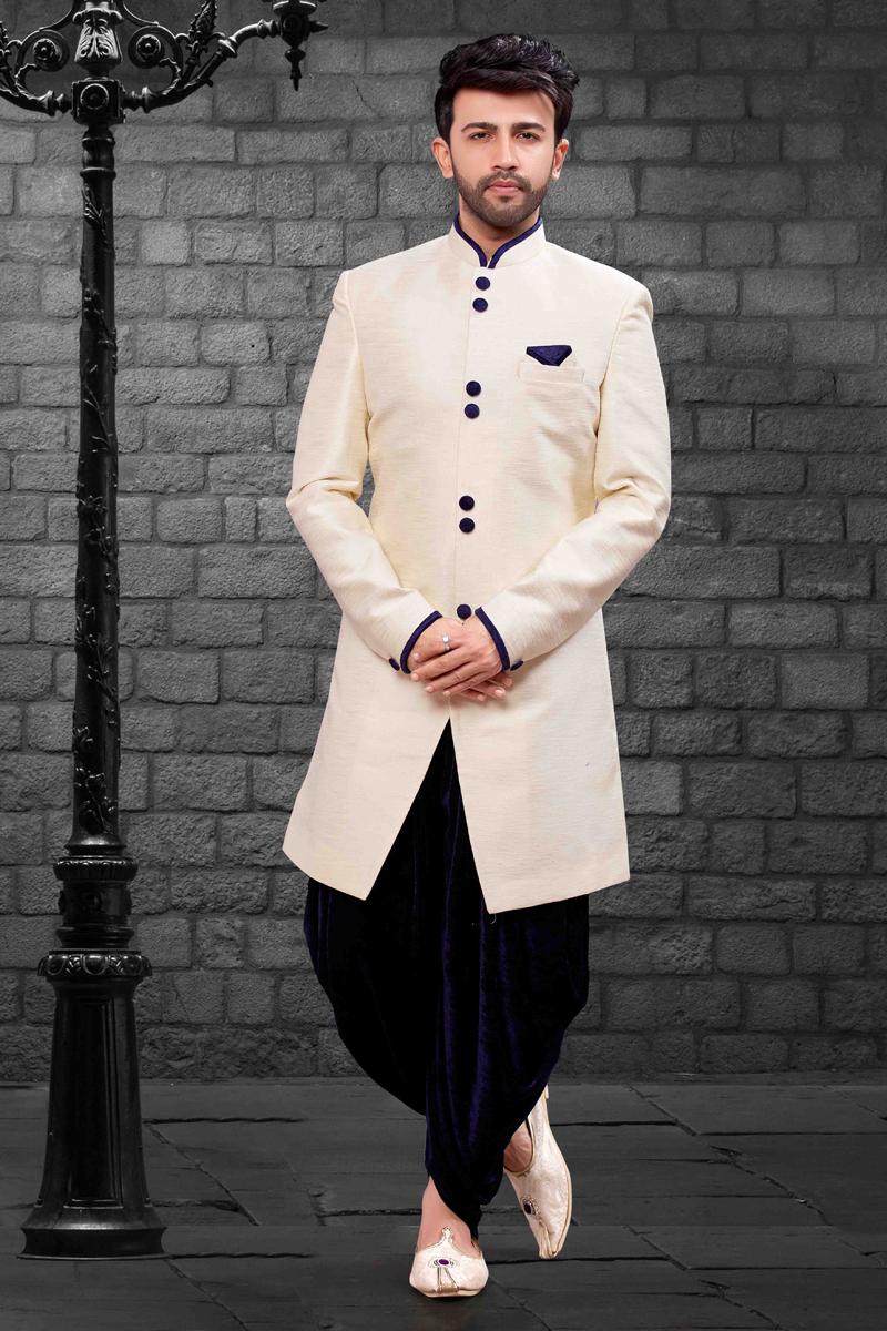 Festive Wear Cream Indo Western Dhoti Style Pant In Art Silk Fabric For Men