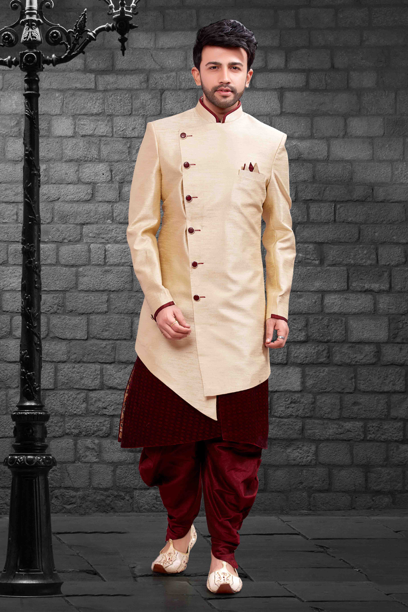 Function Wear Cream Mens Indo Western Dhoti Style Pant