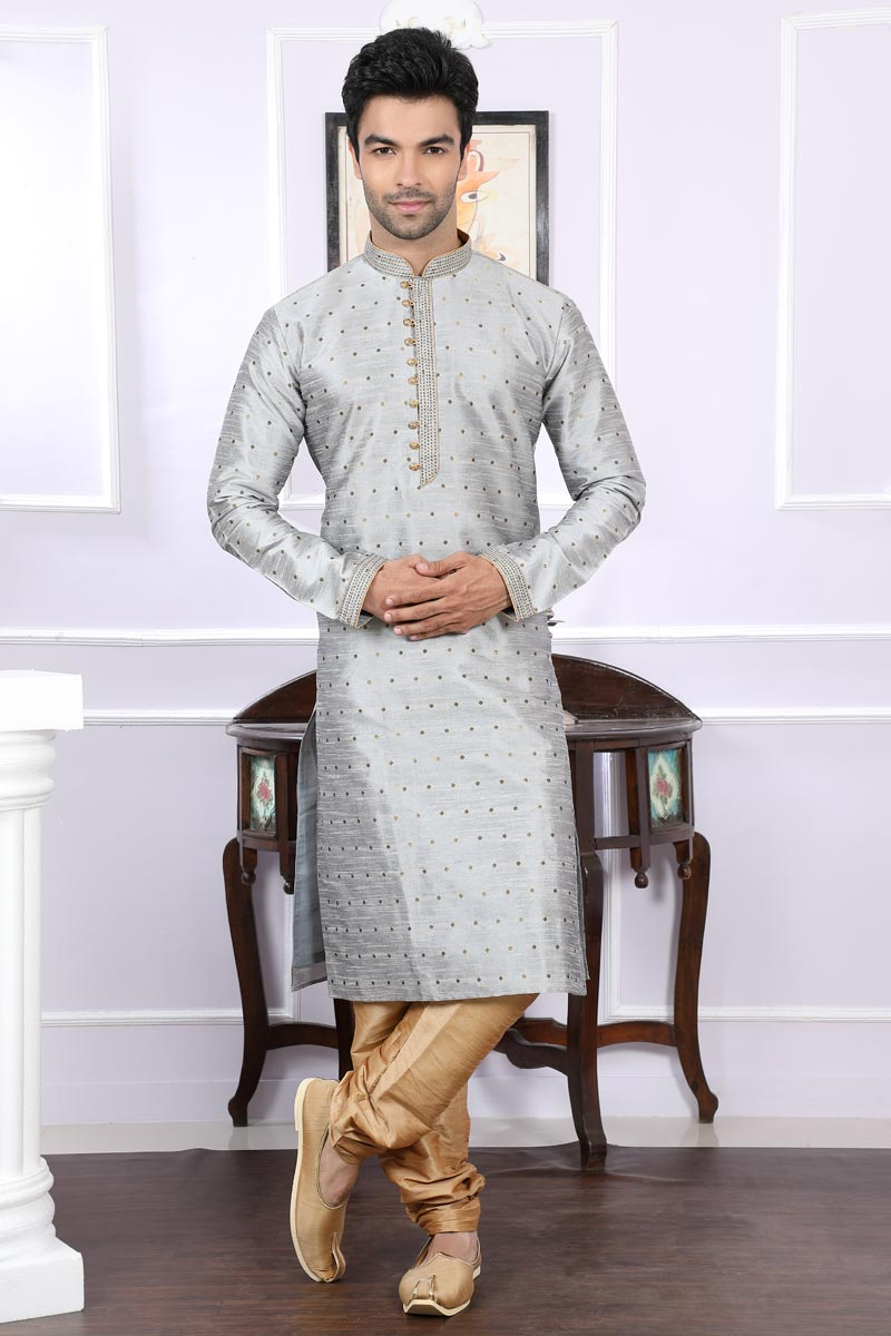 Grey Jacquard Fabric Mens Kurta Pyjama
