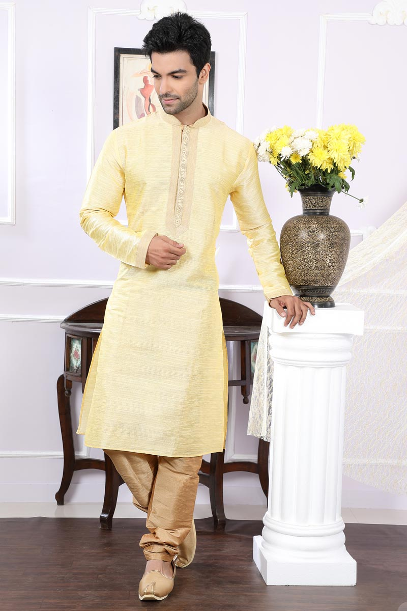 Function Wear Art Silk Fabric Beige Mens Kurta Pyjama