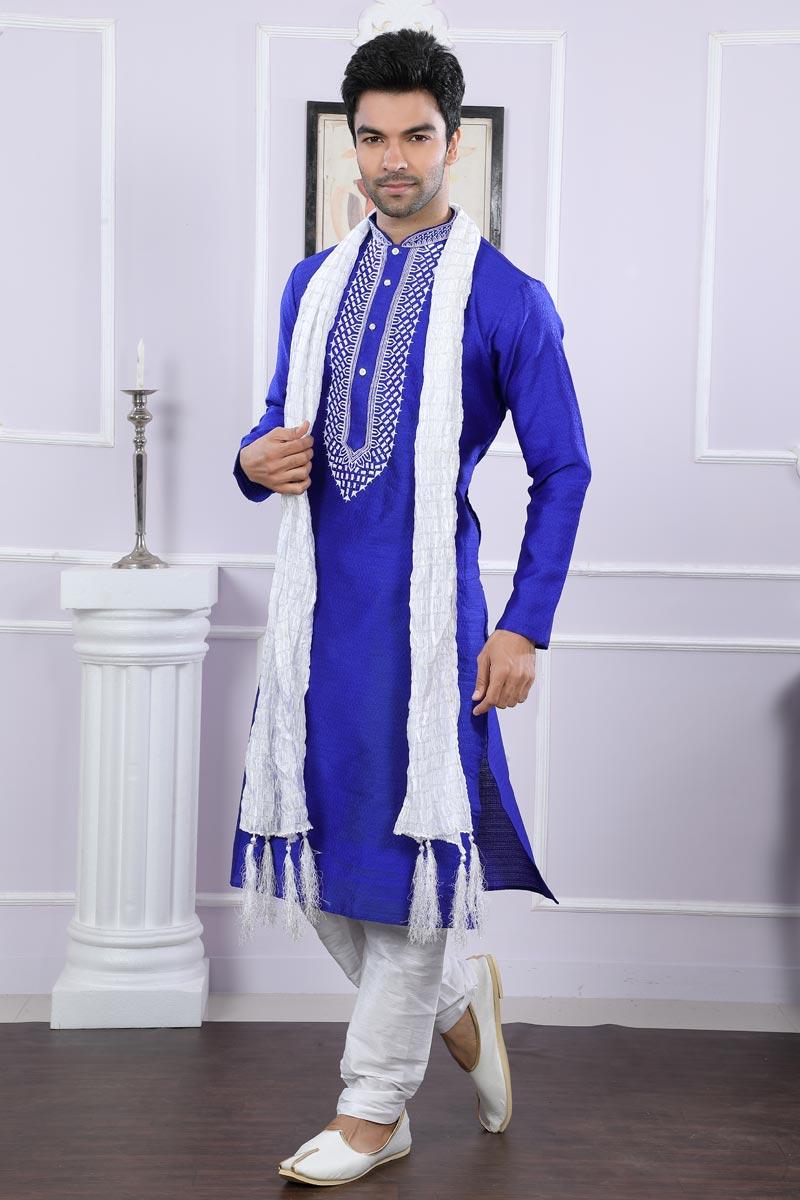Party Wear Jacquard Fabric Kurta Pyjama In Blue For Men