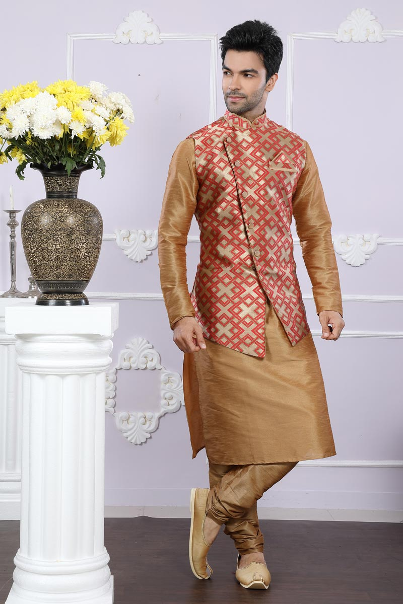 Function Wear Mens Fancy Kurta Pyjama In Art Silk Fabric With Designer Jacket