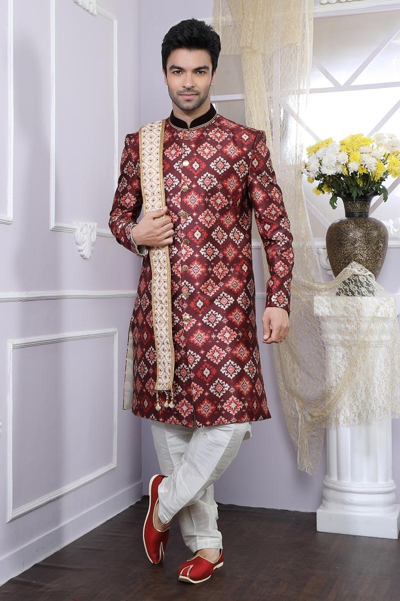 Art Silk Fabric Maroon Function Wear Indo Western For Men