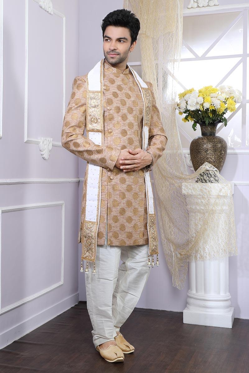 Chikoo Designer Indo Western For Men In Art Silk Fabric