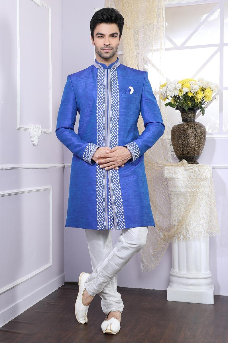 Function Wear Blue Mens Indo Western