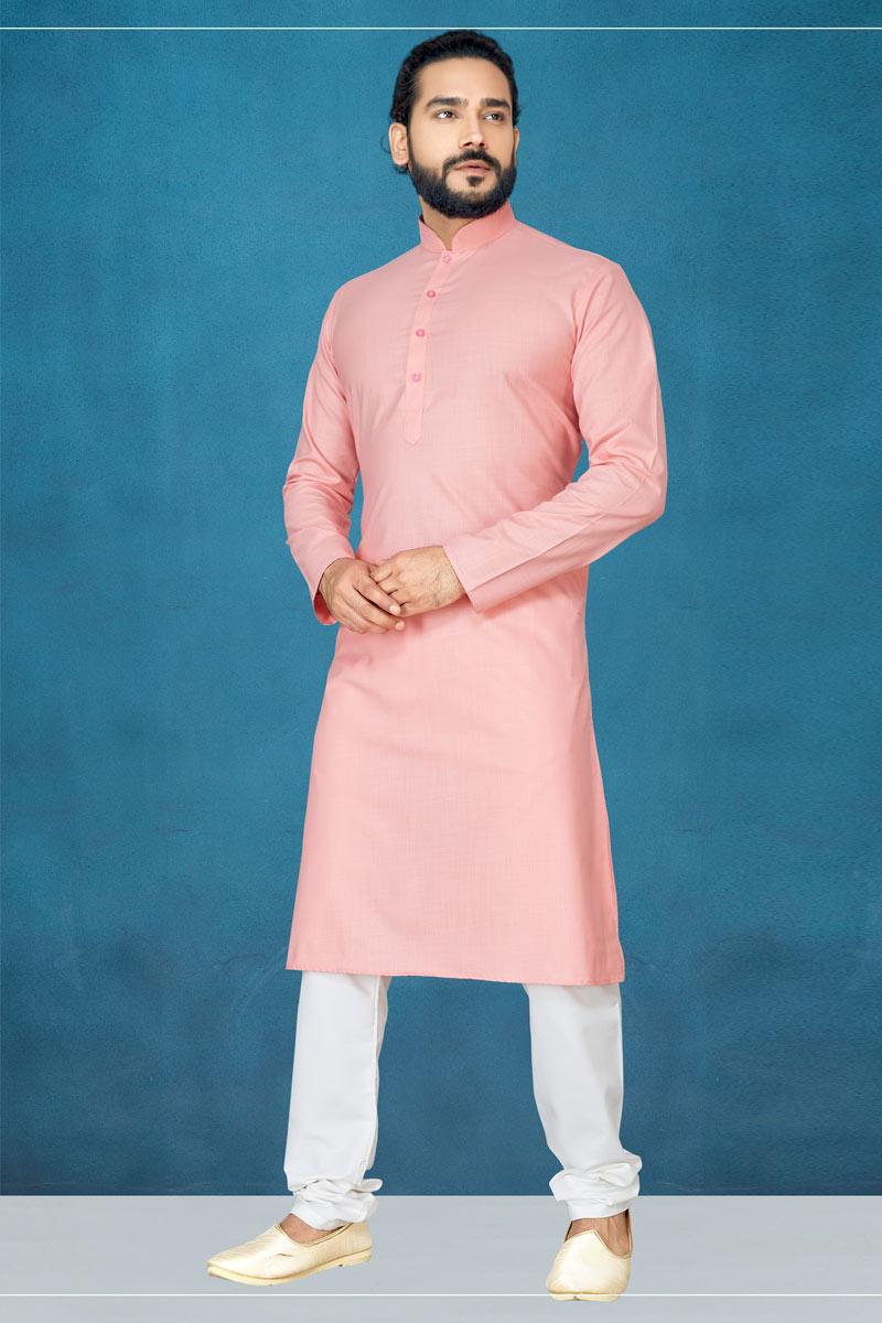 Mens Function Wear Peach Kurta Pyjama In Cotton Fabric