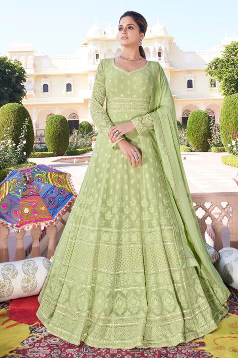 Sea Green Color Festive Wear Embroidered Redymade Anarkali Salwar Suit