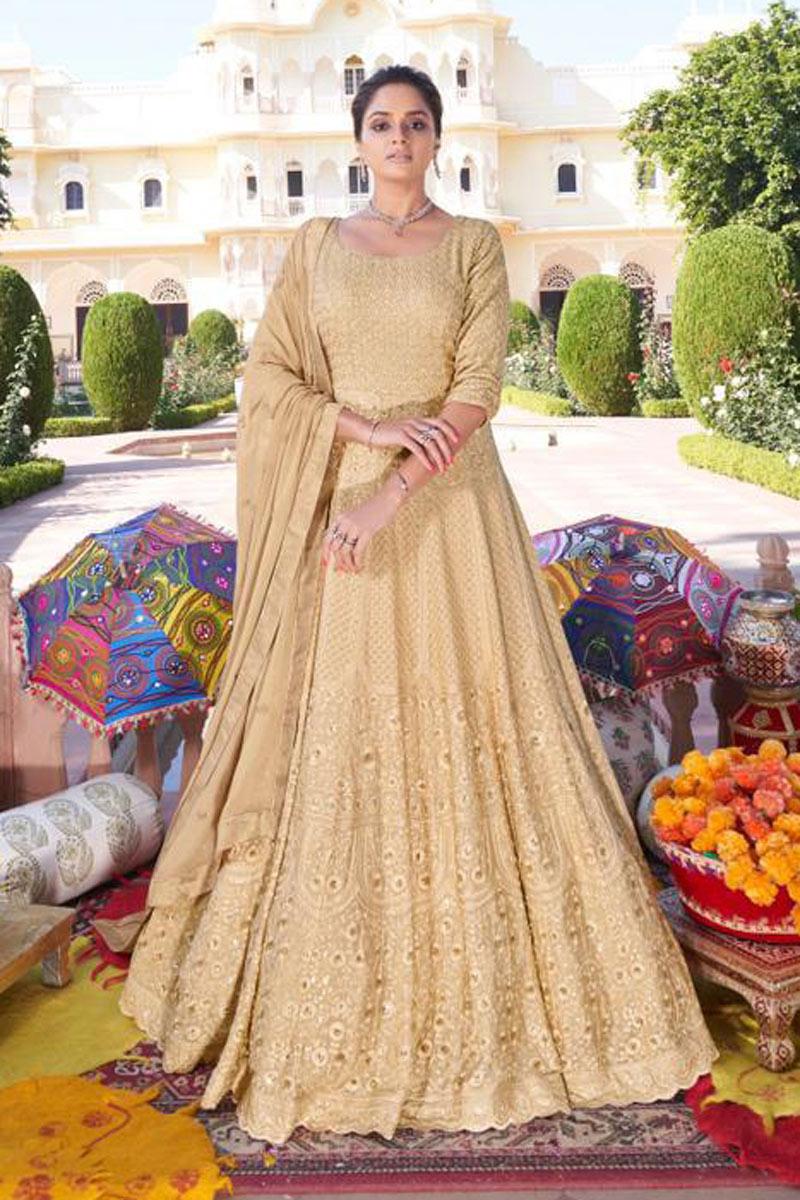 Cream Color Function Wear Stylish Embroidered Redymade Anarkali Salwar Kameez