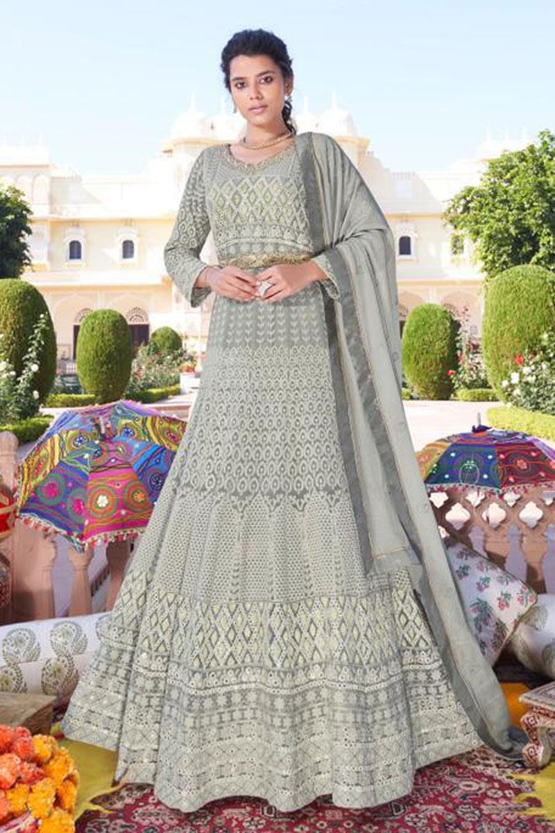 Party Wear Grey Color Designer Embroidered Redymade Anarkali Salwar Suit
