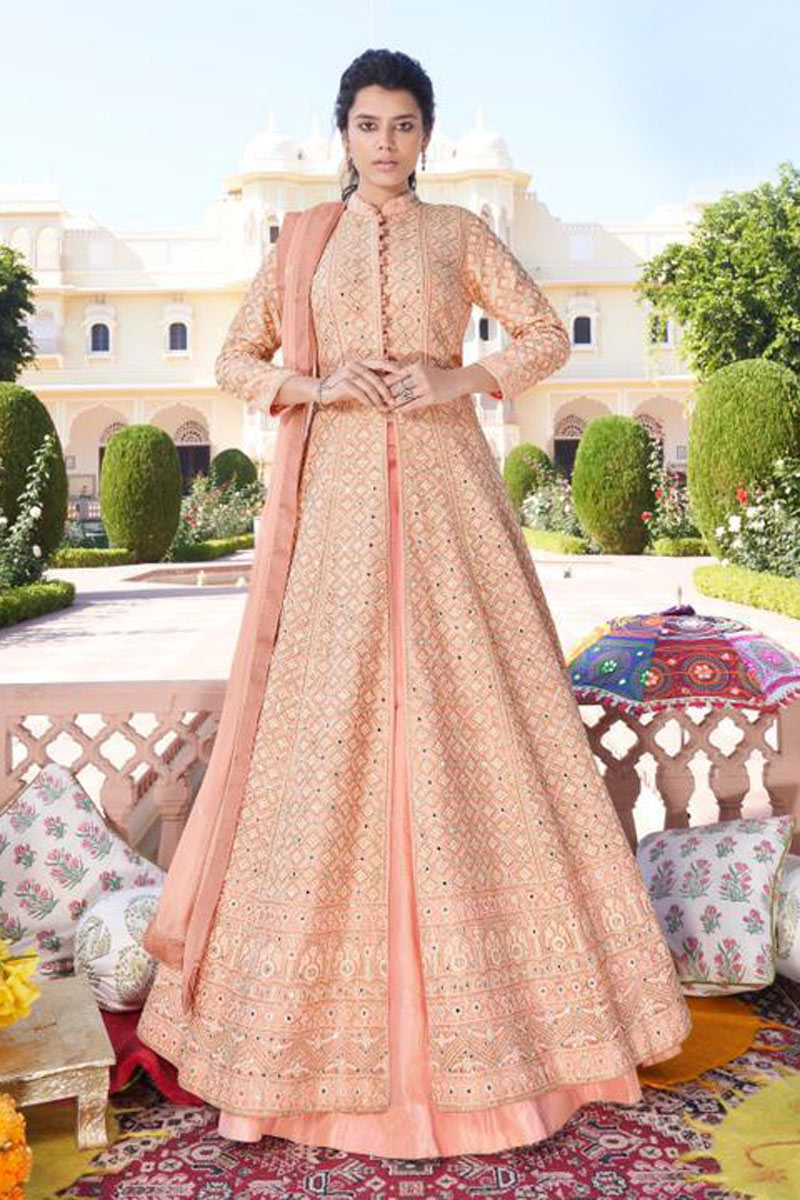 Peach Color Festive Wear Embroidered Redymade Anarkali Salwar Kameez