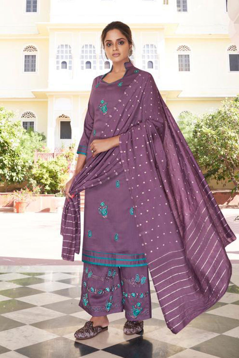 Violet Color Festive Wear Embroidered Redymade Palazzo Salwar Suit