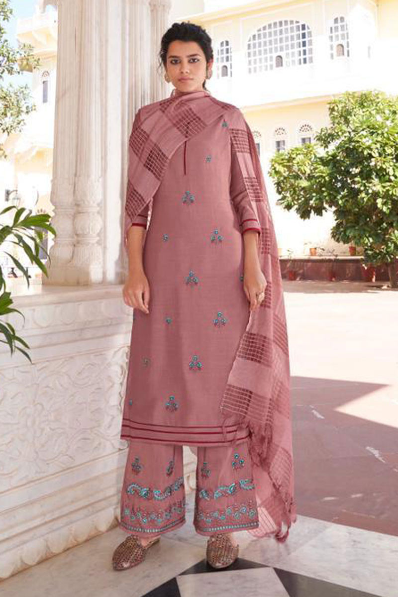 Pink Color Function Wear Stylish Embroidered Redymade Palazzo Salwar Kameez