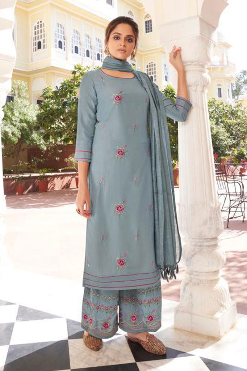 Party Wear Grey Color Designer Embroidered Redymade Palazzo Salwar Suit