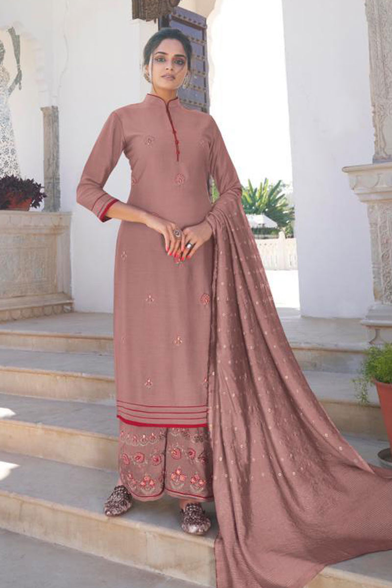Function Wear Embroidered Redymade Palazzo Salwar Suit In Pink Color