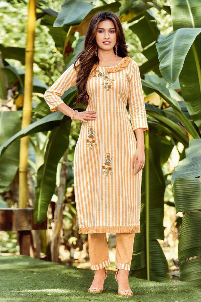 Office Wear Cream Color Cotton Fabric Redymade Trendy Kurti With Bottom
