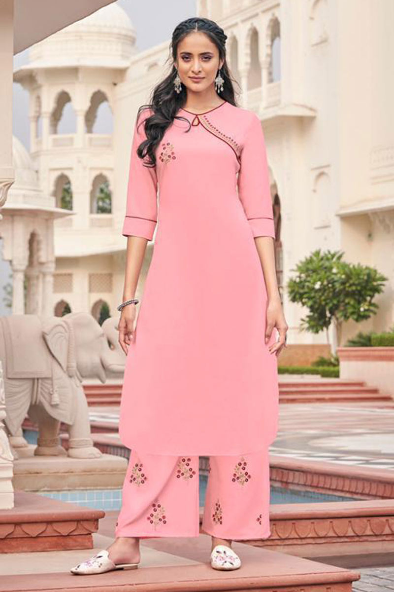 Pink Color Fancy Fabric Function Wear Redymade Kurti With Palazzo Bottom