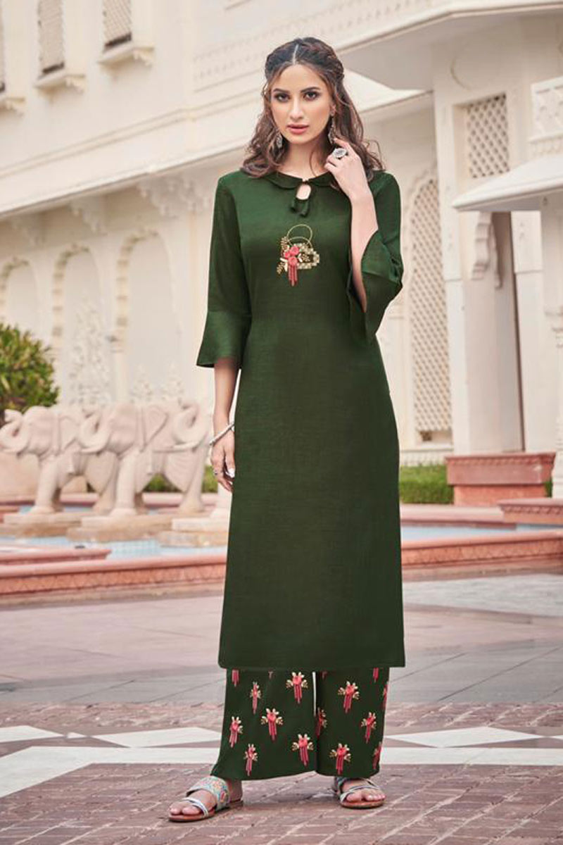 Party Wear Dark Green Color Fancy Fabric Redymade Kurti With Palazzo Bottom