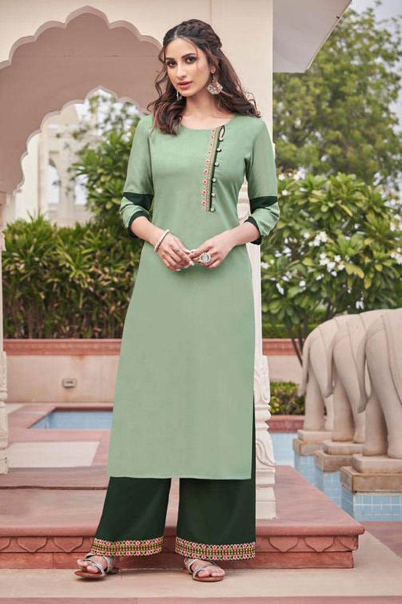 Sea Green Color Fancy Fabric Daily Wear Redymade Kurti With Palazzo Bottom