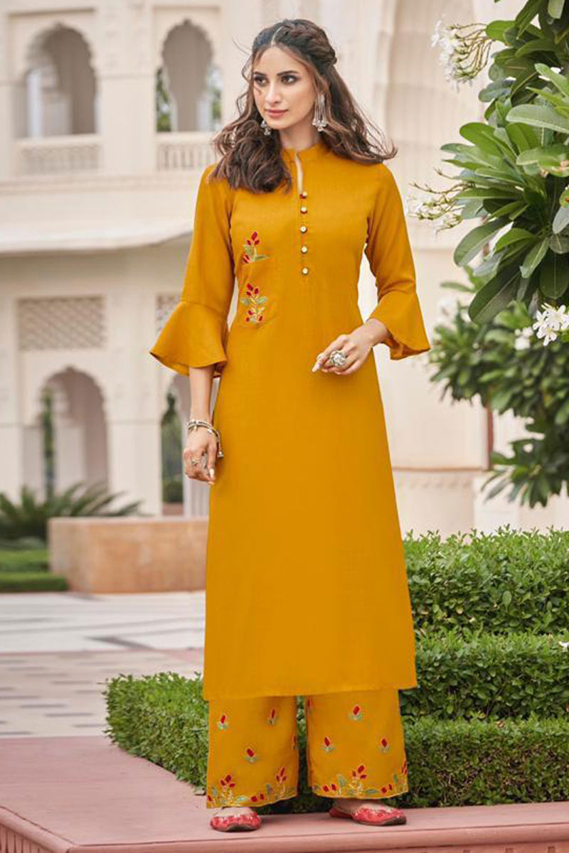 Fancy Fabric Mustard Color Casual Wear Redymade Kurti With Palazzo Bottom