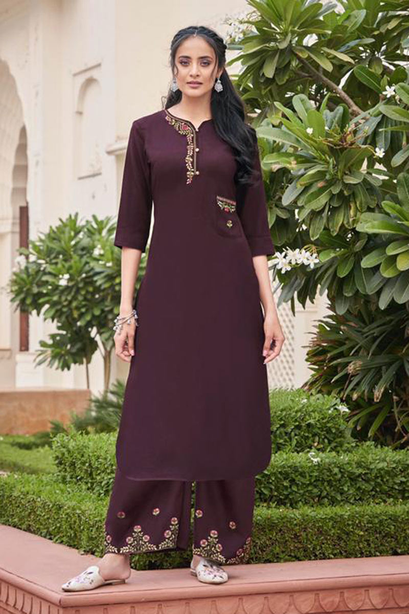 Wine Color Embroidered Function Wear Redymade Kurti With Palazzo Bottom