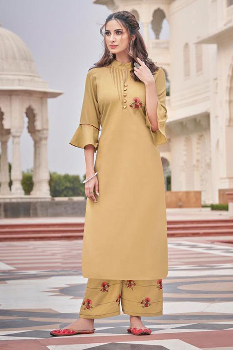 Embroidered Cream Color Festive Wear Redymade Kurti With Palazzo Bottom