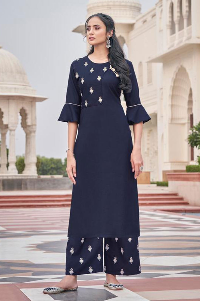 Party Wear Navy Blue Color Embroidered Redymade Kurti With Palazzo Bottom