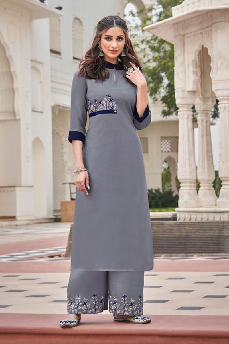 Grey Color Embroidered Daily Wear Redymade Kurti With Palazzo Bottom