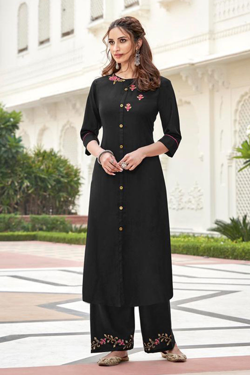 Embroidered Black Color Casual Wear Redymade Kurti With Palazzo Bottom