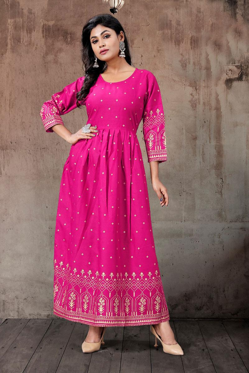 Rani Color Rayon Fabric Function Wear Redymade Fancy Kurti