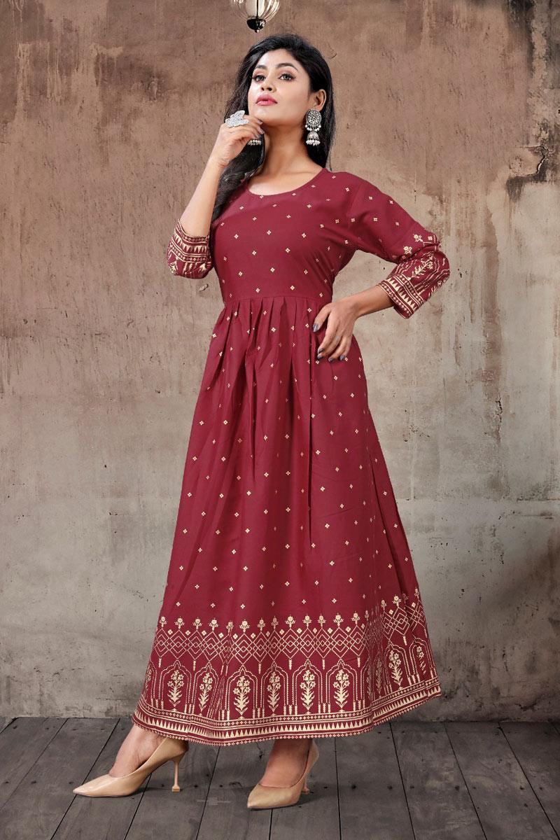 Rayon Fabric Maroon Color Festive Wear Redymade Trendy Kurti