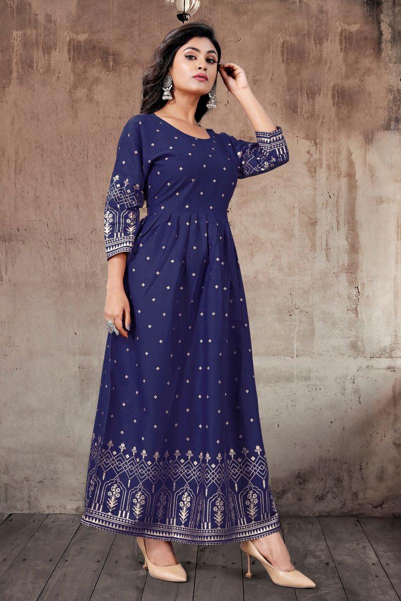 Party Wear Navy Blue Color Rayon Fabric Redymade Stylish Kurti
