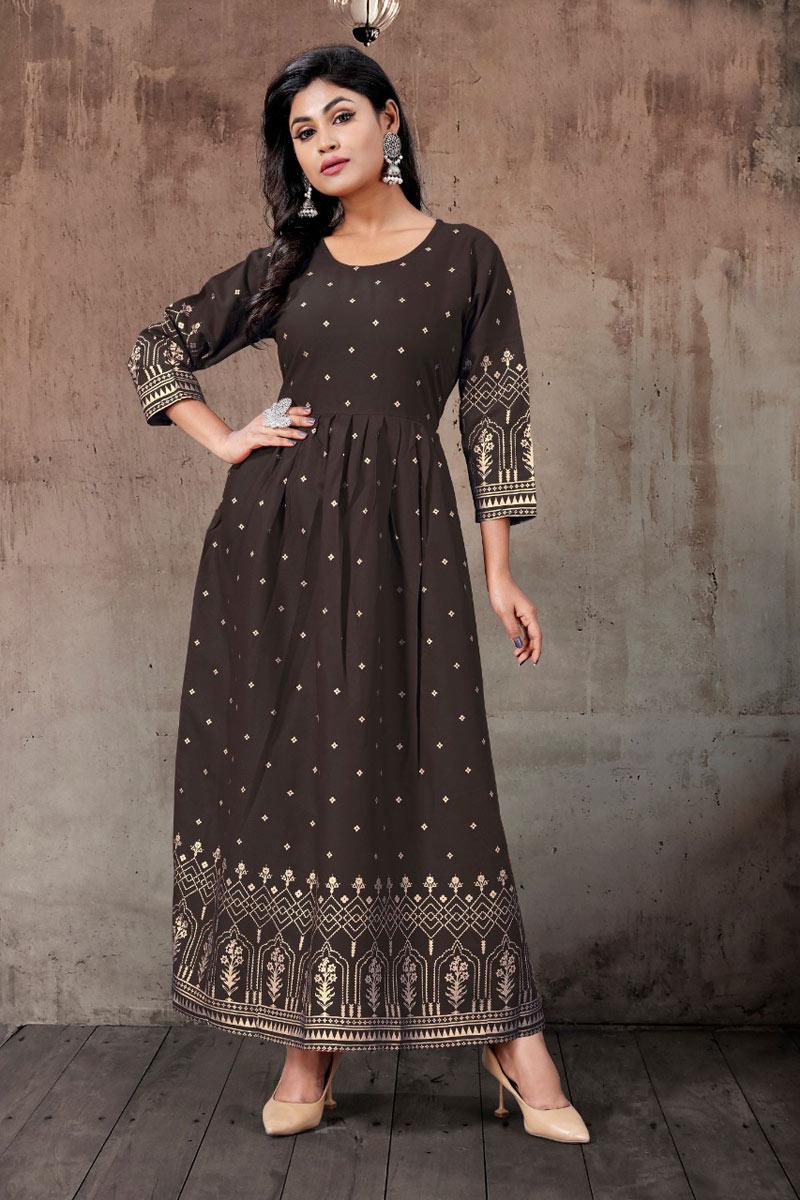 Brown Color Rayon Fabric Daily Wear Redymade Designer Kurti