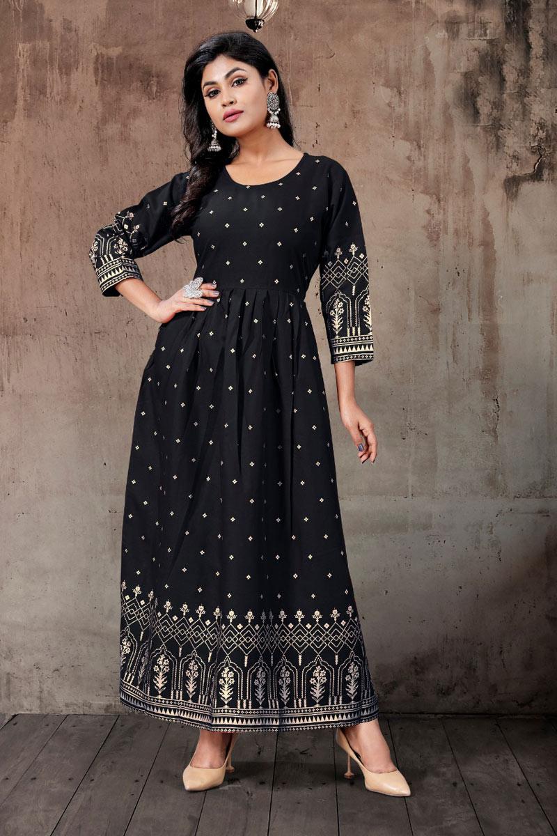 Rayon Fabric Black Color Casual Wear Redymade Fancy Kurti