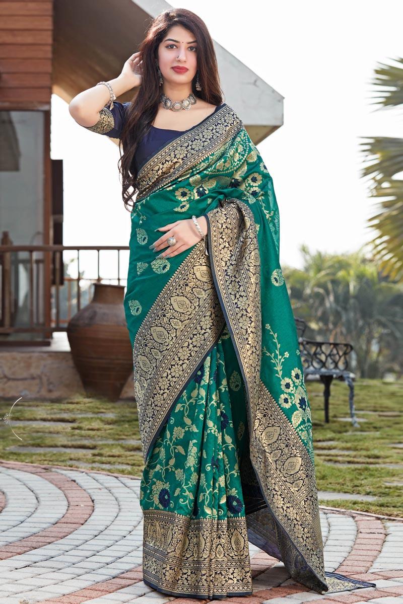 Teal Color Puja Wear Art Silk Fabric Designer Weaving Work Saree