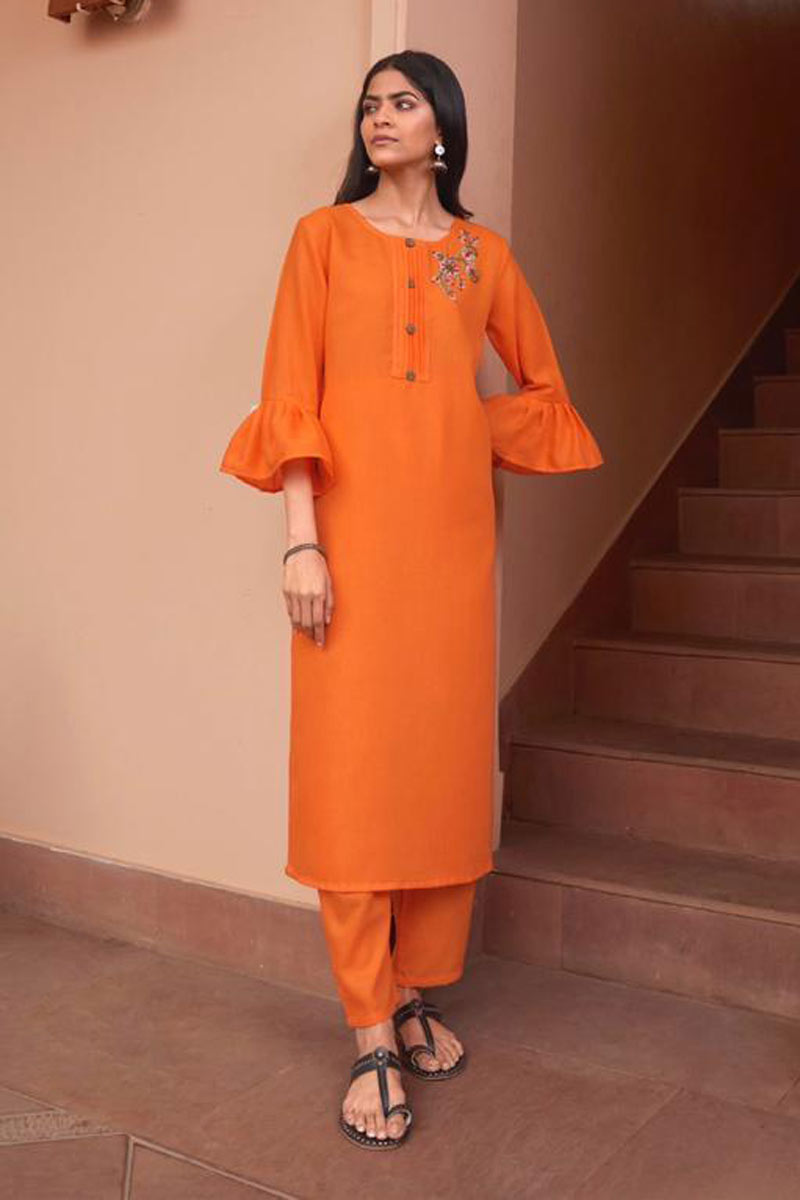 Orange Color Fancy Fabric Function Wear Redymade Kurti With Bottom