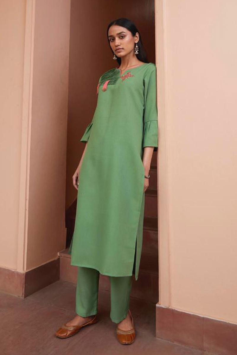 Fancy Fabric Sea Green Color Festive Wear Redymade Kurti With Bottom