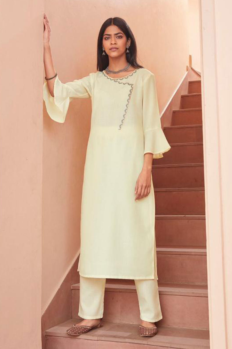 Party Wear Beige Color Fancy Fabric Redymade Kurti With Bottom