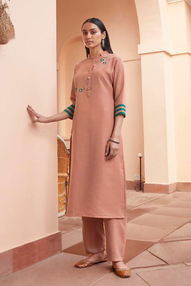 Salmon Color Fancy Fabric Daily Wear Redymade Kurti With Bottom