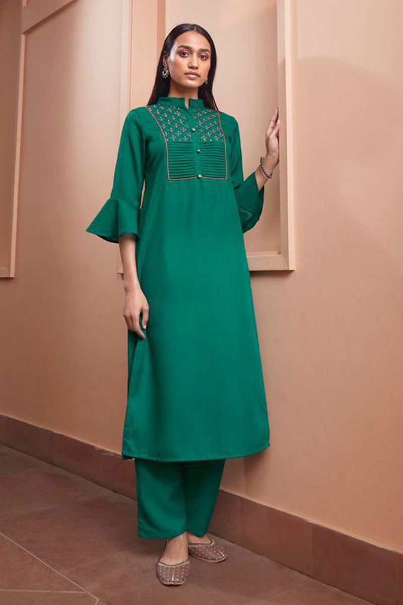 Fancy Fabric Teal Color Casual Wear Redymade Kurti With Bottom