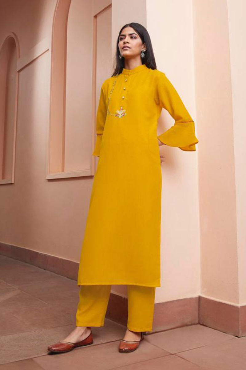 Office Wear Mustard Color Fancy Fabric Redymade Kurti With Bottom
