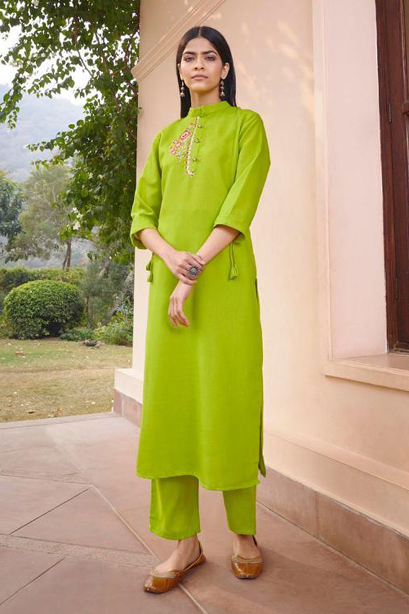 Green Color Embroidered Function Wear Redymade Kurti With Bottom